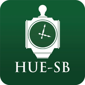 App icon, 1920s clock. Captioned with HUE-SB