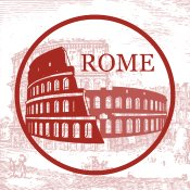 App icon, Roman coliseum captioned with Rome in all caps