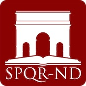 App icon, Roman arch over an open book. Captioned with SPQR-ND