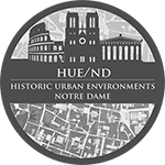 HUE logo; grey circle with city plan backdrop
